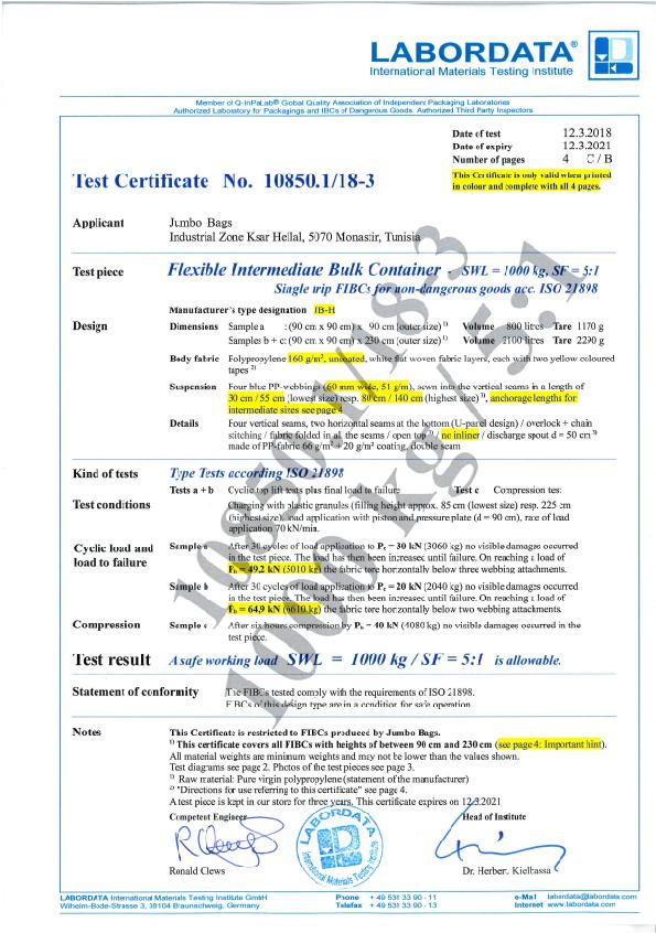 certificat labordata jumbo bags 10850.1